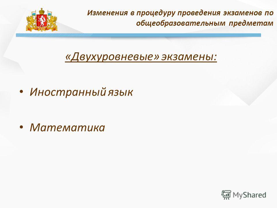 «Двухуровневые» экзамены: Иностранный язык Математика Изменения в процедуру проведения экзаменов по общеобразовательным предметам