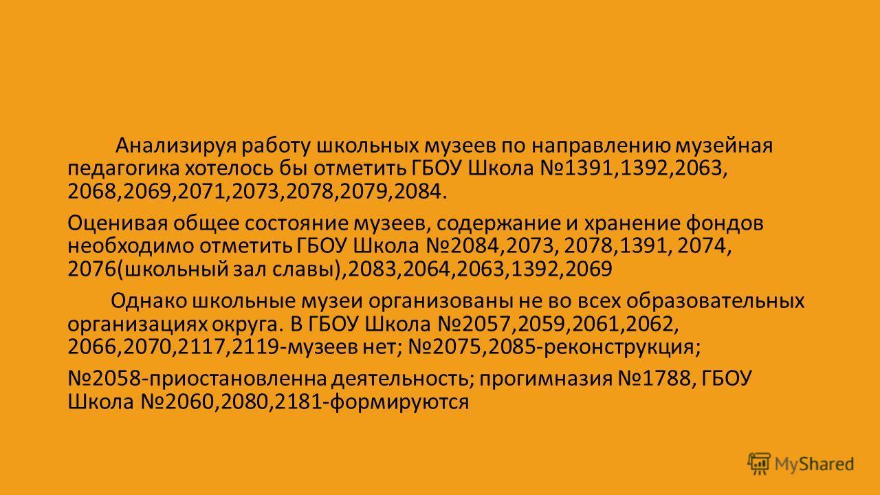Анализируя работу школьных музеев по направлению музейная педагогика хотелось бы отметить ГБОУ Школа 1391,1392,2063, 2068,2069,2071,2073,2078,2079,2084. Оценивая общее состояние музеев, содержание и хранение фондов необходимо отметить ГБОУ Школа 2084