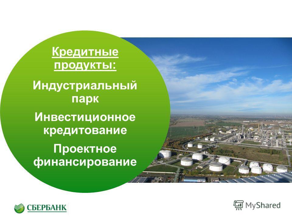 Кредитные продукты: Индустриальный парк Инвестиционное кредитование Проектное финансирование