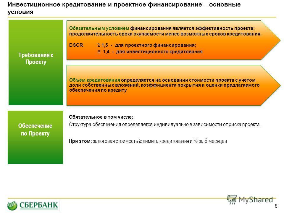 Инвестиционное кредитование и проектное финансирование – основные условия Требования к Проекту 8 Объем кредитования определяется на основании стоимости проекта с учетом доли собственных вложений, коэффициента покрытия и оценки предлагаемого обеспечен