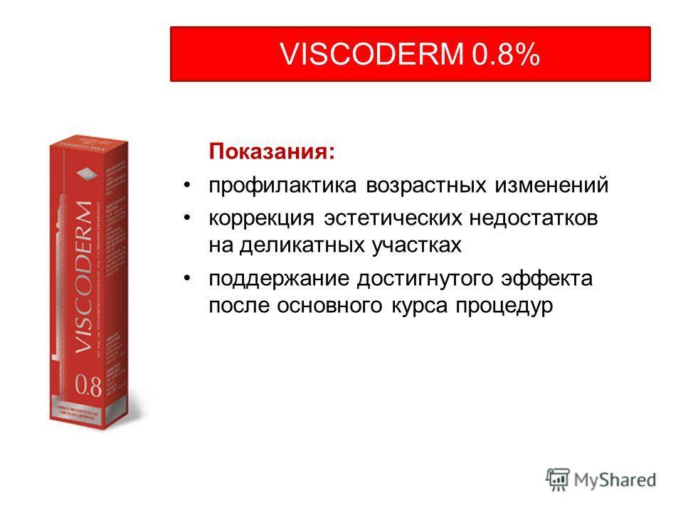 Показания: профилактика возрастных изменений коррекция эстетических недостатков на деликатных участках поддержание достигнутого эффекта после основного курса процедур VISCODERM 0.8%