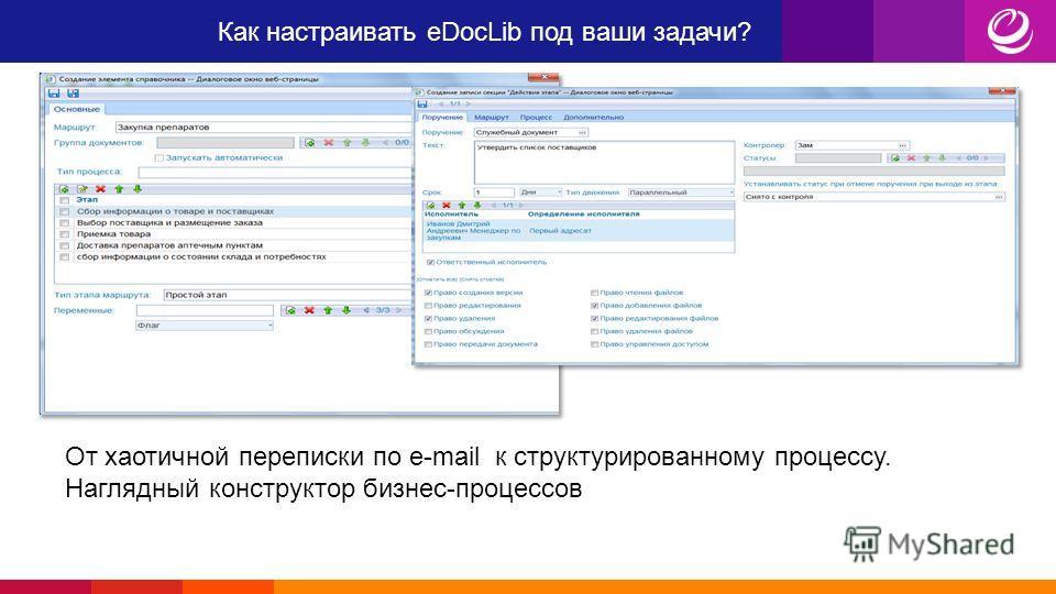 Как настраивать eDocLib под ваши задачи? От хаотичной переписки по e-mail к структурированному процессу. Наглядный конструктор бизнес-процессов