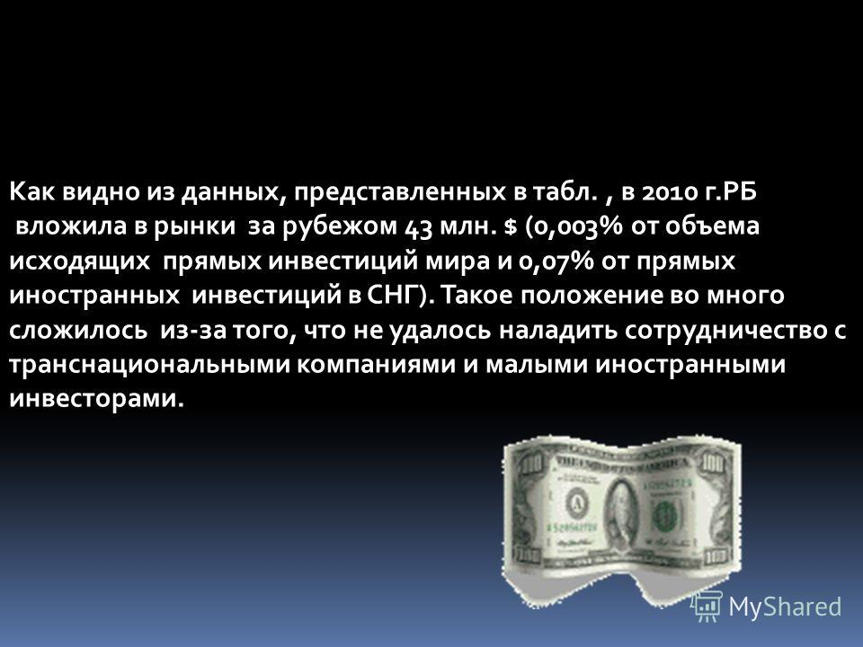Как видно из данных, представленных в табл., в 2010 г.РБ вложила в рынки за рубежом 43 млн. $ (0,003% от объема исходящих прямых инвестиций мира и 0,07% от прямых иностранных инвестиций в СНГ). Такое положение во много сложилось из-за того, что не уд