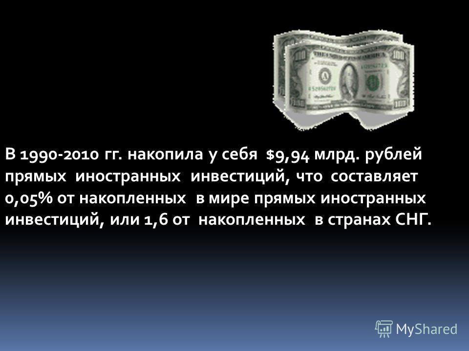 В 1990-2010 гг. накопила у себя $9,94 млрд. рублей прямых иностранных инвестиций, что составляет 0,05% от накопленных в мире прямых иностранных инвестиций, или 1,6 от накопленных в странах СНГ.
