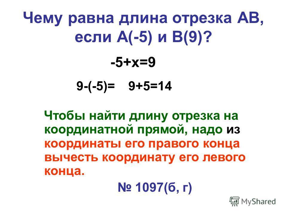 Чему равна длина отрезка АВ, если А(-5) и В(9)? 9-(-5)= -5+х=9 9+5=14 Чтобы найти длину отрезка на координатной прямой, надо из координаты его правого конца вычесть координату его левого конца. 1097(б, г)