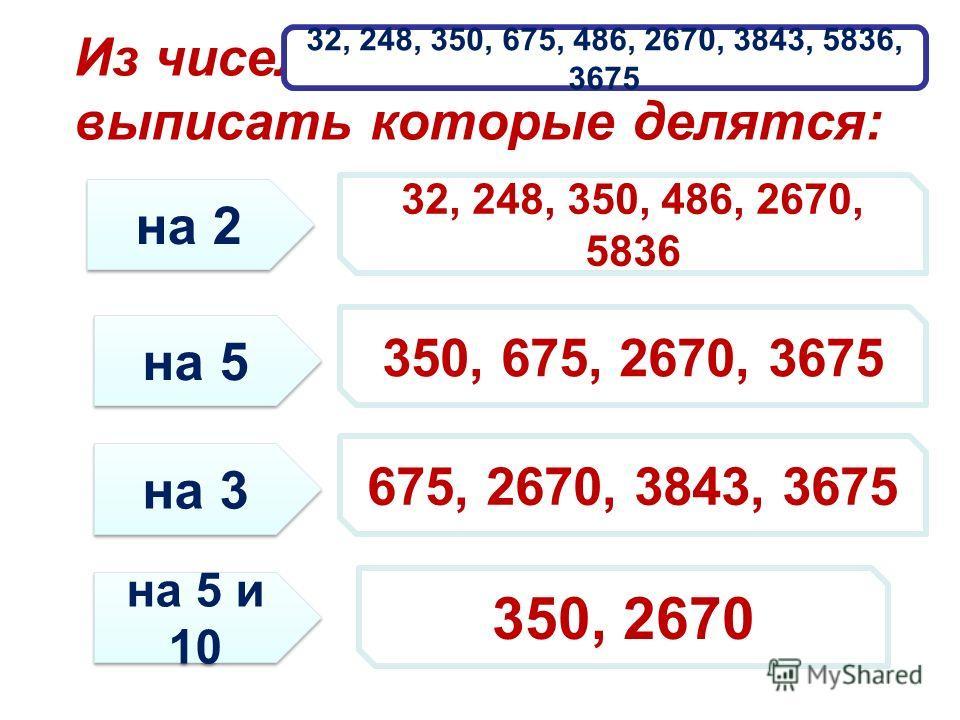 Из чисел выписать которые делятся: 32, 248, 350, 675, 486, 2670, 3843, 5836, 3675 на 2 на 5 на 3 на 5 и 10 32, 248, 350, 486, 2670, 5836 350, 675, 2670, 3675 675, 2670, 3843, 3675 350, 2670
