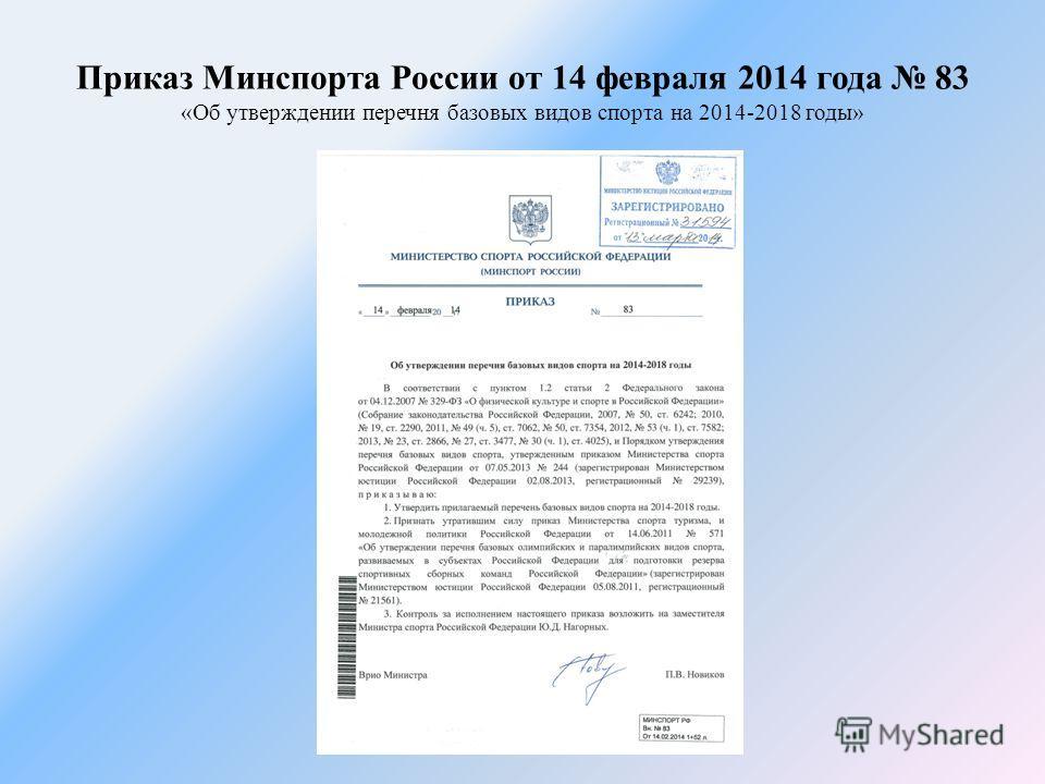 Приказ Минспорта России от 14 февраля 2014 года 83 «Об утверждении перечня базовых видов спорта на 2014-2018 годы»