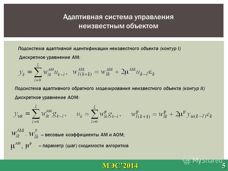 МЭС2014 5 МЭС2014 5 Адаптивная система управления неизвестным объектом Подсистема адаптивного обратного моделирования неизвестного объекта (контур ΙΙ) Дискретное уравнение АОМ: Подсистема адаптивной идентификации неизвестного объекта (контур Ι) Дискр
