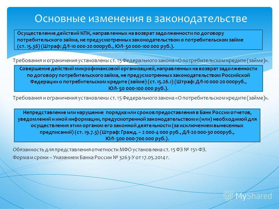 Требования и ограничения установлены ст. 15 Федерального закона «О потребительском кредите (займе)». Обязанность для представления отчетности МФО установлена ст. 15 ФЗ 151-ФЗ. Форма и сроки – Указанием Банка России 3263-У от 17.05.2014 г. Основные из