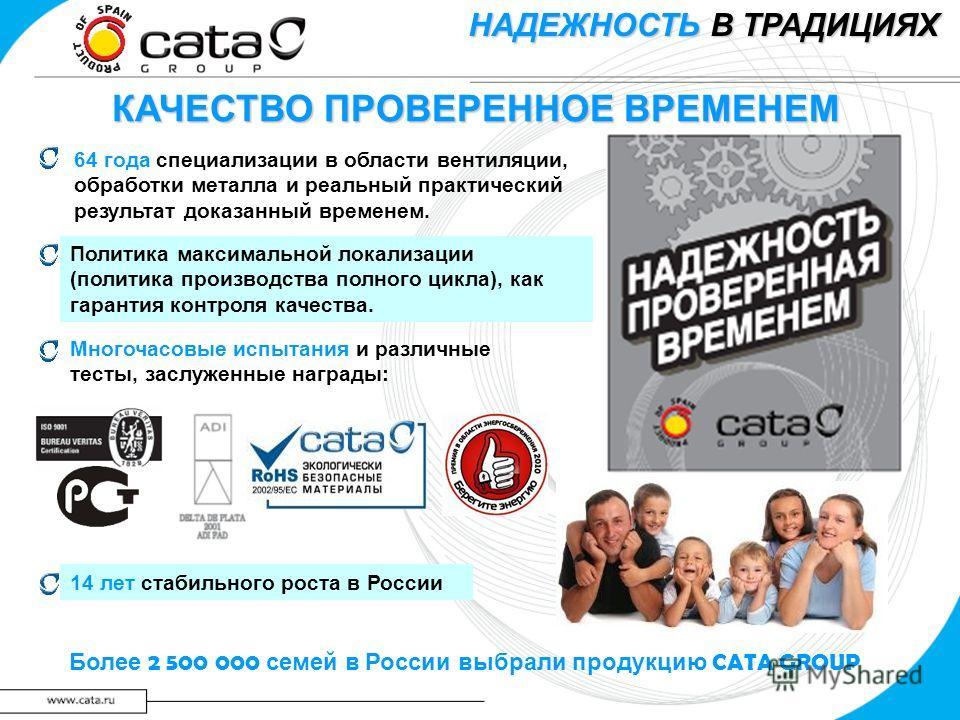 КАЧЕСТВО ПРОВЕРЕННОЕ ВРЕМЕНЕМ Более 2 500 000 семей в России выбрали продукцию CATA GROUP НАДЕЖНОСТЬ В ТРАДИЦИЯХ 64 года специализации в области вентиляции, обработки металла и реальный практический результат доказанный временем. 14 лет стабильного р