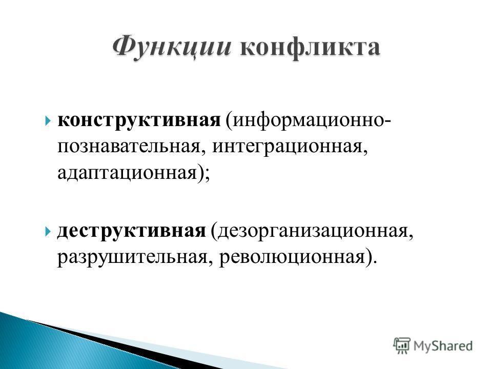конструктивная (информационно- познавательная, интеграционная, адаптационная); деструктивная (дезорганизационная, разрушительная, революционная).