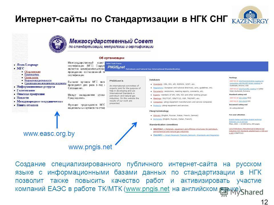 12 Интернет-сайты по Стандартизации в НГК СНГ Создание специализированного публичного интернет-сайта на русском языке с информационными базами данных по стандартизации в НГК позволит также повысить качество работ и активизировать участие компаний ЕАЭ