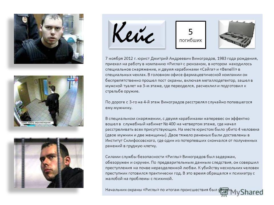 7 ноября 2012 г. юрист Дмитрий Андреевич Виноградов, 1983 года рождения, приехал на работу в компанию «Ригла» с рюкзаком, в котором находилось специальное снаряжение, и двумя карабинами «Сайга» и «Benelli» в специальных чехлах. В головном офисе фарма