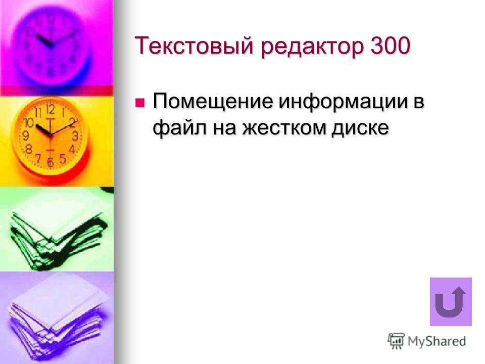 Текстовый редактор 300 Помещение информации в файл на жестком диске Помещение информации в файл на жестком диске