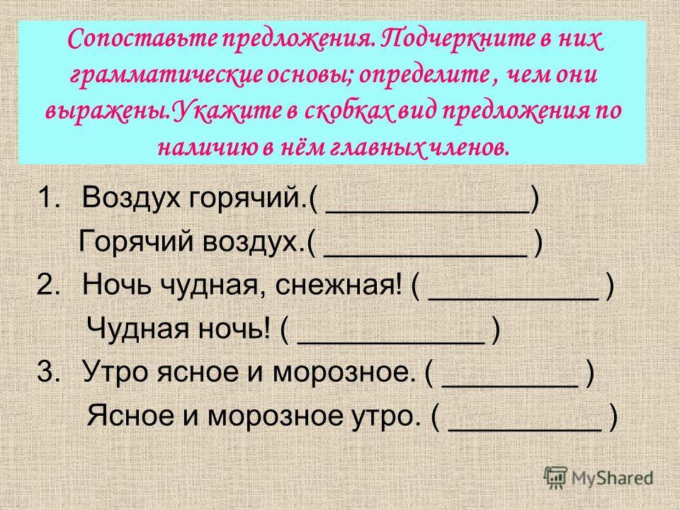 Сопоставьте предложения. Подчеркните в них грамматические основы; определите, чем они выражены.Укажите в скобках вид предложения по наличию в нём главных членов. 1. Воздух горячий.( ____________) Горячий воздух.( ____________ ) 2. Ночь чудная, снежна