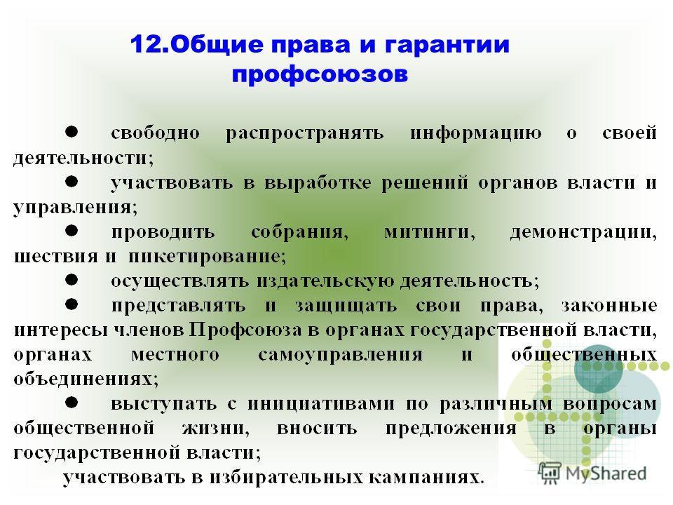 12. Общие права и гарантии профсоюзов