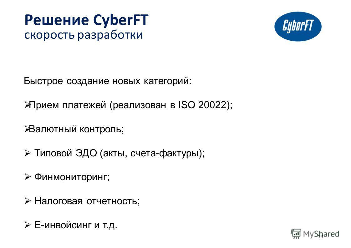 Быстрое создание новых категорий: Прием платежей (реализован в ISO 20022); Валютный контроль; Типовой ЭДО (акты, счета-фактуры); Финмониторинг; Налоговая отчетность; Е-инвойсинг и т.д. 19 Решение CyberFT скорость разработки