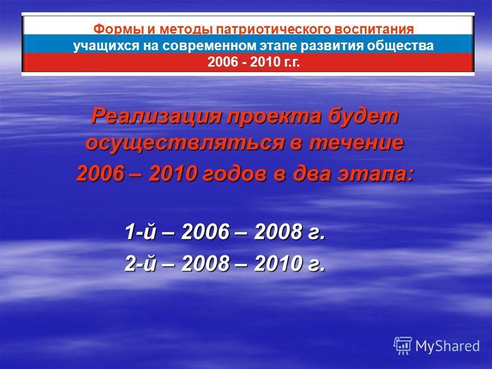 1-й – 2006 – 2008 г. 2-й – 2008 – 2010 г. Формы и методы патриотического воспитания учащихся на современном этапе развития общества 2006 - 2010 г.г. Реализация проекта будет осуществляться в течение 2006 – 2010 годов в два этапа: