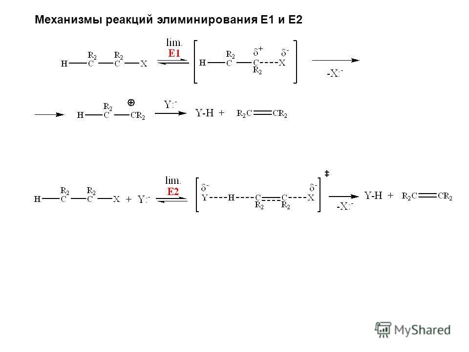Механизмы реакций элиминирования E1 и E2