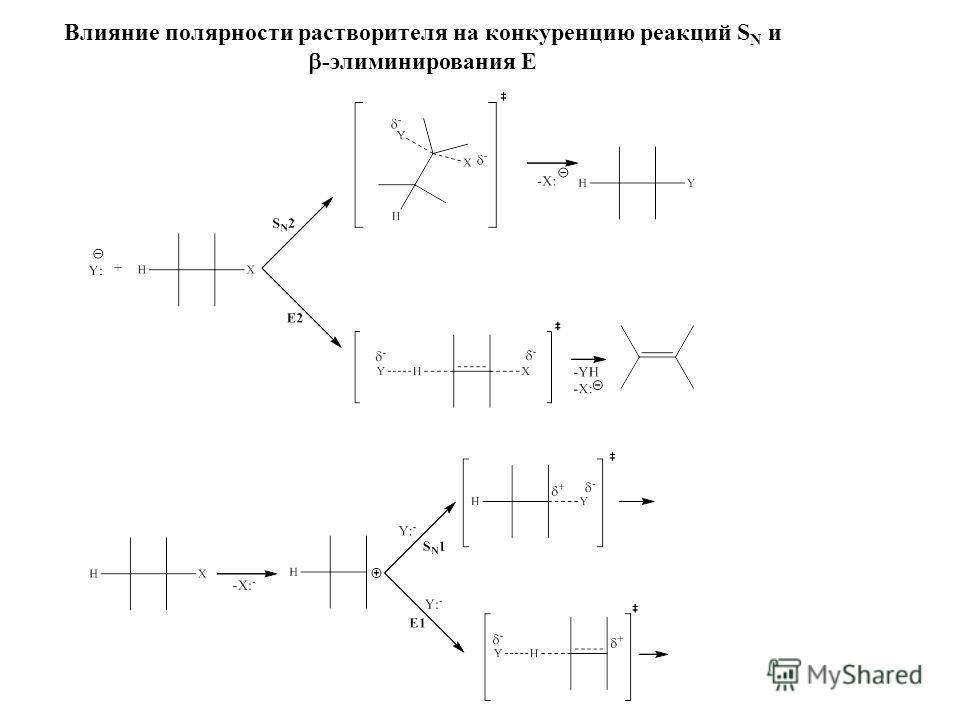 Влияние полярности растворителя на конкуренцию реакций S N и -элиминирования E