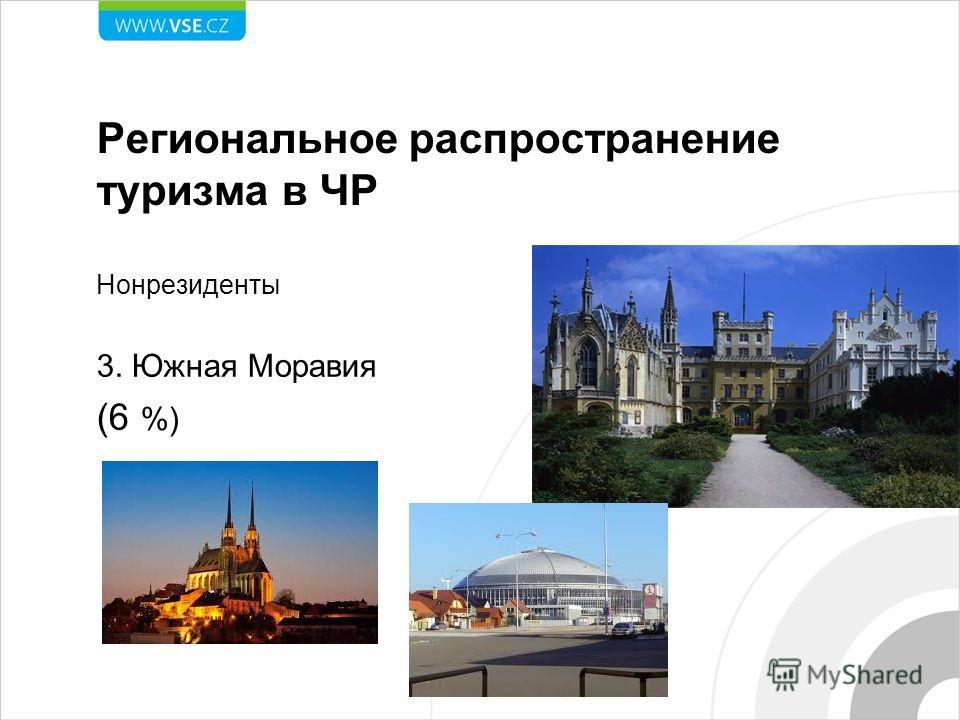Региональное распространение туризма в ЧР Нонрезиденты 3. Южная Моравия (6 %)
