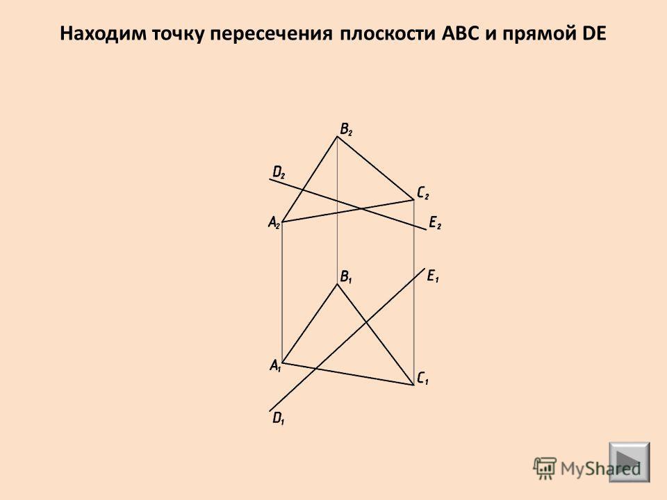 Находим точку пересечения плоскости АВС и прямой DE