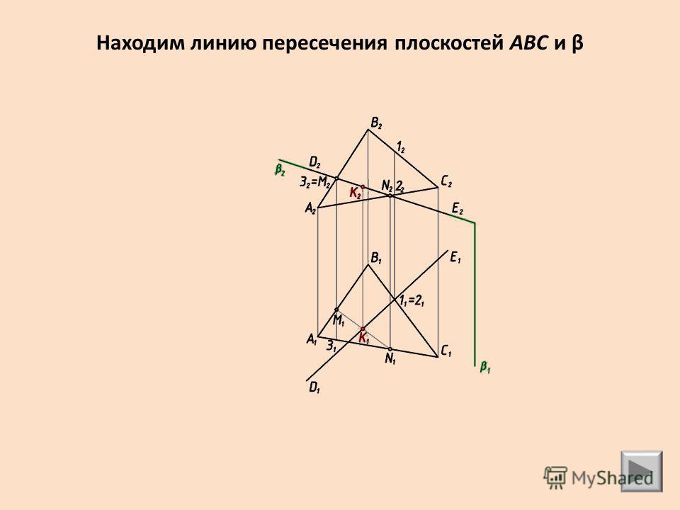 Находим линию пересечения плоскостей ABC и β