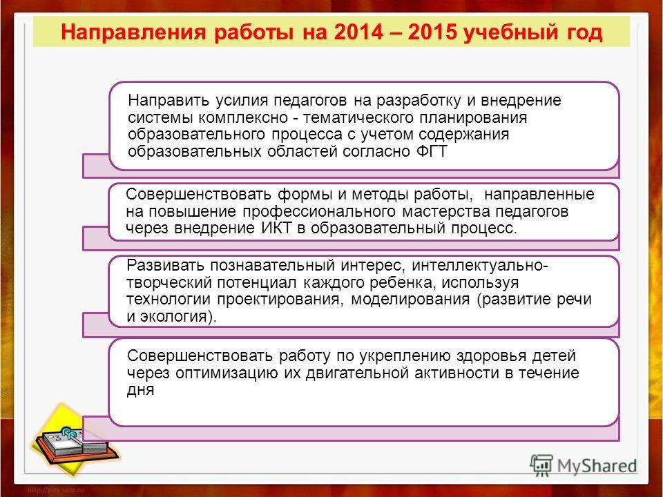 Направления работы на 2014 – 2015 учебный год Направить усилия педагогов на разработку и внедрение системы комплексно - тематического планирования образовательного процесса с учетом содержания образовательных областей согласно ФГТ Совершенствовать фо