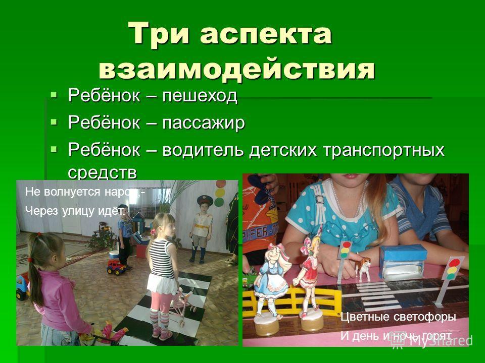 Три аспекта взаимодействия Три аспекта взаимодействия Ребёнок – пешеход Ребёнок – пешеход Ребёнок – пассажир Ребёнок – пассажир Ребёнок – водитель детских транспортных средств Ребёнок – водитель детских транспортных средств Не волнуется народ,- Через