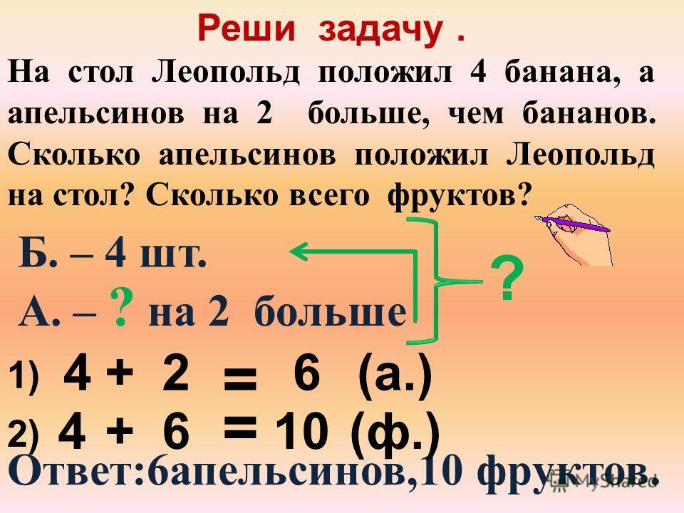 Реши задачу. В вазе было 10 конфет. Мышата утащили 2 конфеты. Сколько конфет осталось в вазе? Было – 10 к. 10 - 2=8(к.) Утащили – 2 к. Осталось – ?к. Ответ: 8 конфет.
