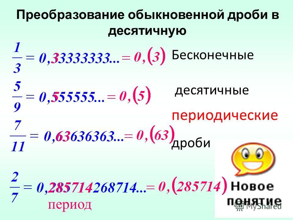 Дробные числа Десятичные дроби Преобразование обыкновенной дроби в десятичную дроби со знаменателем 0,10,030,12598415,0849