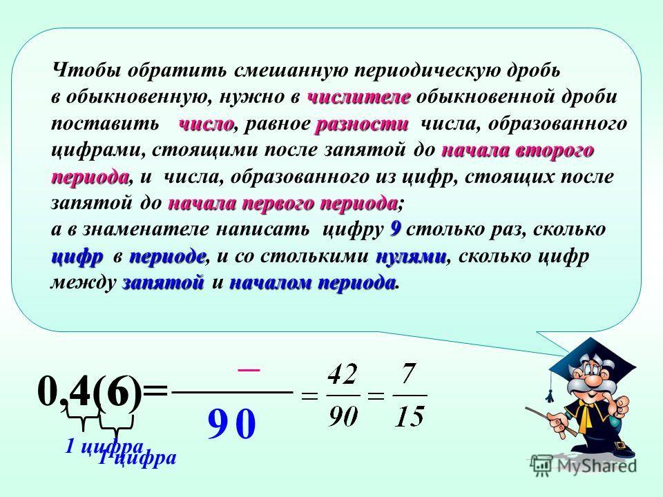 Чтобы обратить чисто периодическую дробь числителе число, в обыкновенную, нужно в числителе обыкновенной дроби поставить число, стоящих в периоде образованное из цифр, стоящих в периоде, знаменателе 9 а в знаменателе – написать цифру 9 столько раз, с