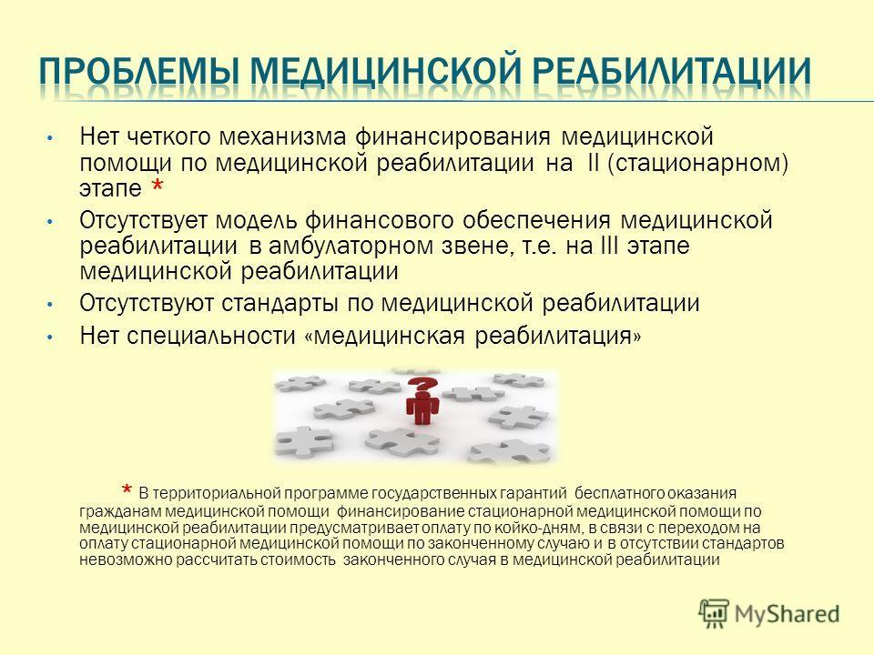 Нет четкого механизма финансирования медицинской помощи по медицинской реабилитации на II (стационарном) этапе * Отсутствует модель финансового обеспечения медицинской реабилитации в амбулаторном звене, т.е. на III этапе медицинской реабилитации Отсу