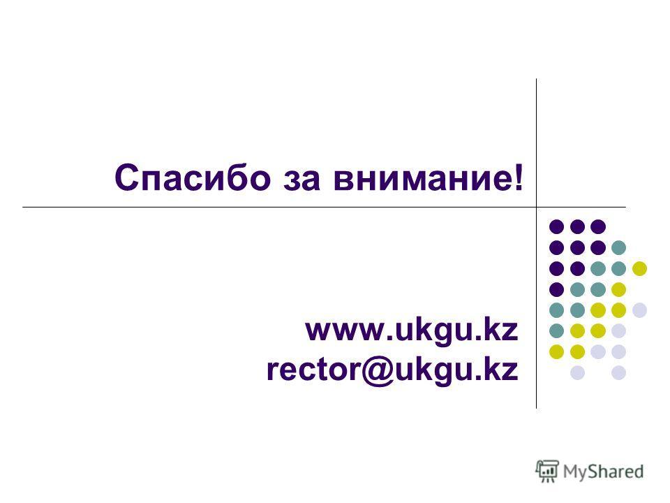 www.ukgu.kz rector@ukgu.kz Спасибо за внимание!