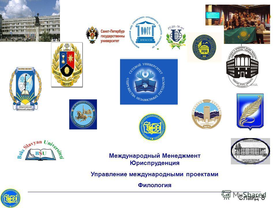 Слайд 8 Международный Менеджмент Юриспруденция Управление международными проектами Филология