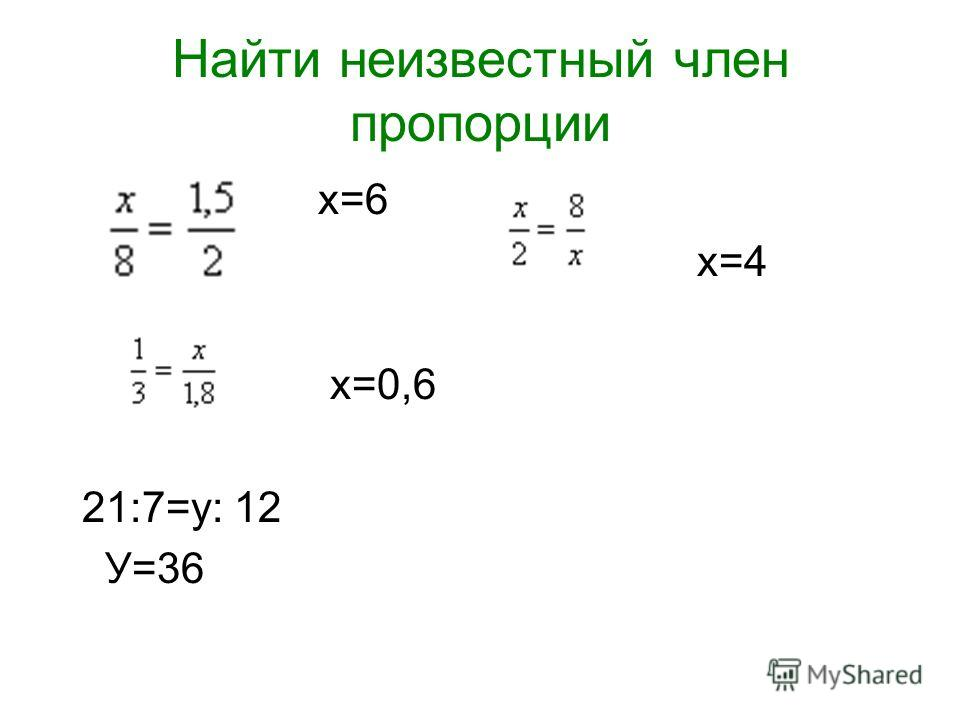 Найти неизвестный член пропорции х=6 х=4 х=0,6 21:7=у: 12 У=36