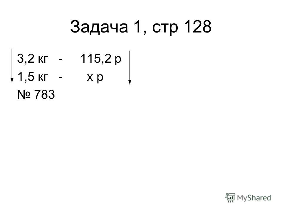 Задача 1, стр 128 3,2 кг - 115,2 р 1,5 кг - х р 783