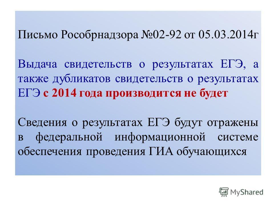 Письмо Рособрнадзора 02-92 от 05.03.2014 г Выдача свидетельств о результатах ЕГЭ, а также дубликатов свидетельств о результатах ЕГЭ с 2014 года производится не будет Сведения о результатах ЕГЭ будут отражены в федеральной информационной системе обесп