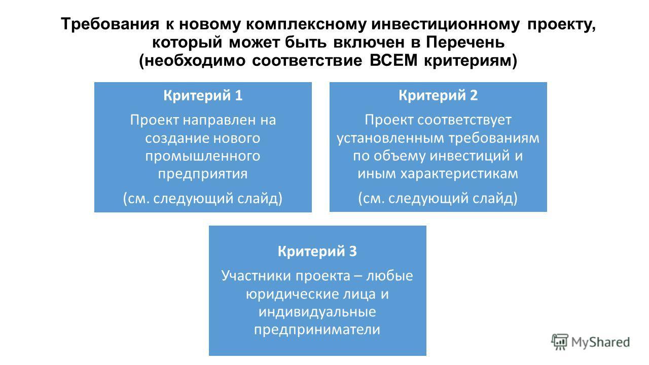 Требования к новому комплексному инвестиционному проекту, который может быть включен в Перечень (необходимо соответствие ВСЕМ критериям) Критерий 1 Проект направлен на создание нового промышленного предприятия (см. следующий слайд) Критерий 2 Проект