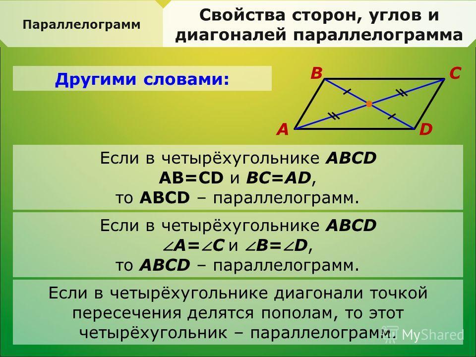 Параллелограмм Свойства сторон, углов и диагоналей параллелограмма Другими словами: A BC D Если в четырёхугольнике диагонали точкой пересечения делятся пополам, то этот четырёхугольник – параллелограмм. Если в четырёхугольнике АВСD АВ=СD и ВС=АD, то
