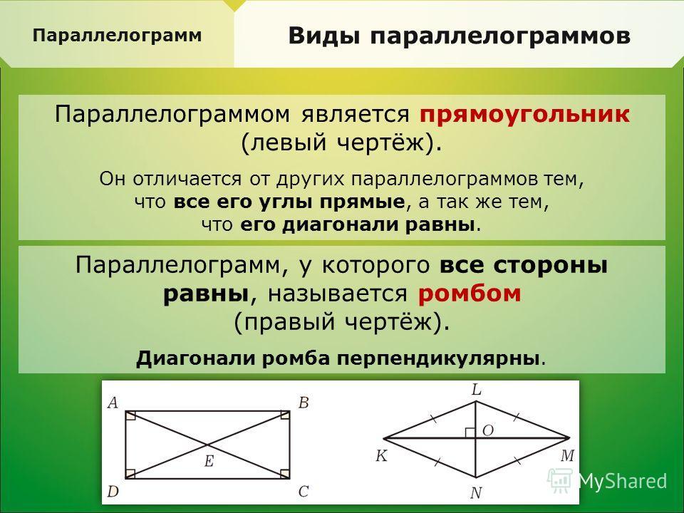 Параллелограмм Виды параллелограммов Параллелограммом является прямоугольник (левый чертёж). Он отличается от других параллелограммов тем, что все его углы прямые, а так же тем, что его диагонали равны. Параллелограмм, у которого все стороны равны, н