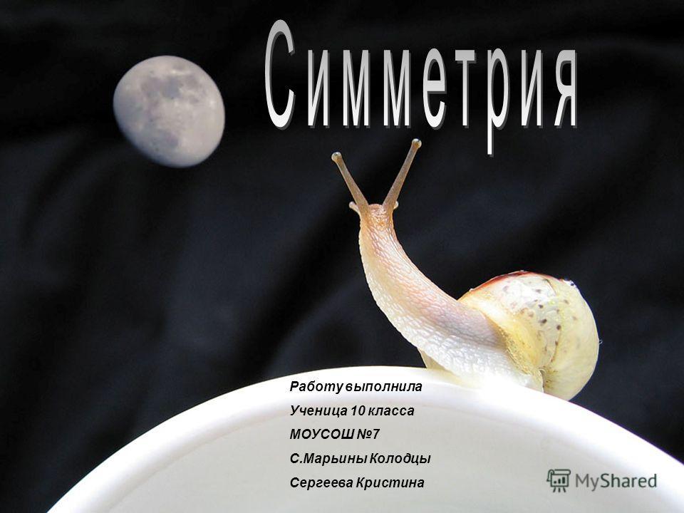 Работу выполнила Ученица 10 класса МОУСОШ 7 С.Марьины Колодцы Сергеева Кристина