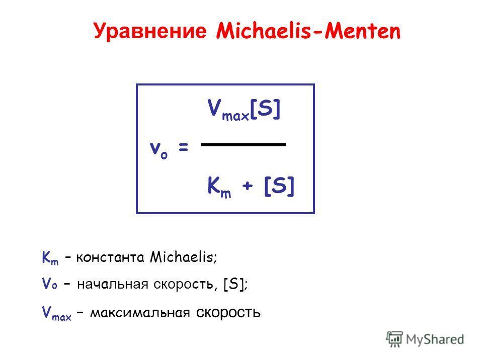 V max [S] v o = K m + [S] Уравнение Michaelis-Menten K m – константа Michaelis; V o – начальная скорость, [S]; V max – максимальна я скорость