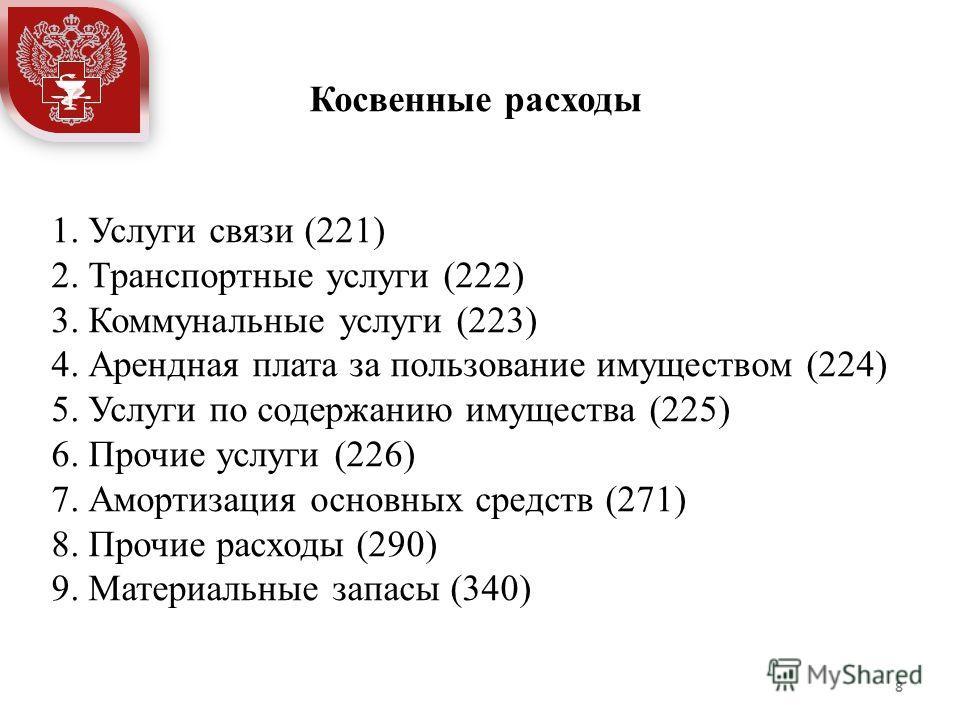 1. Услуги связи (221) 2. Транспортные услуги (222) 3. Коммунальные услуги (223) 4. Арендная плата за пользование имуществом (224) 5. Услуги по содержанию имущества (225) 6. Прочие услуги (226) 7. Амортизация основных средств (271) 8. Прочие расходы (