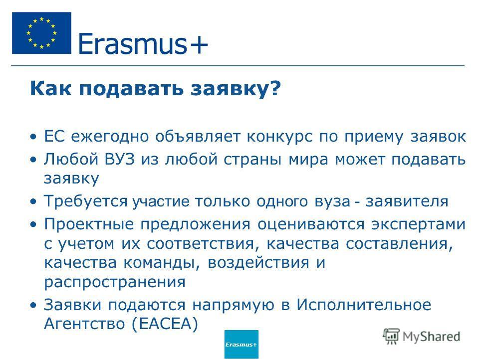 Erasmus+ Как подавать заявку? ЕС ежегодно объявляет конкурс по приему заявок Любой ВУЗ из любой страны мира может подавать заявку Требуется участие только одного вуз а - заявителя Проектные предложения оцениваются экспертами с учетом их соответствия,