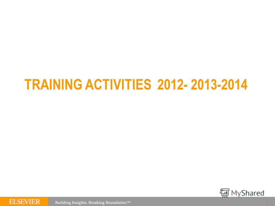 TRAINING ACTIVITIES 2012- 2013-2014 2