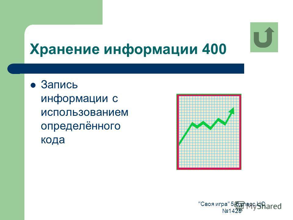 Своя игра 5-6 класс ЦО 1428 Хранение информации 400 Запись информации с использованием определённого кода