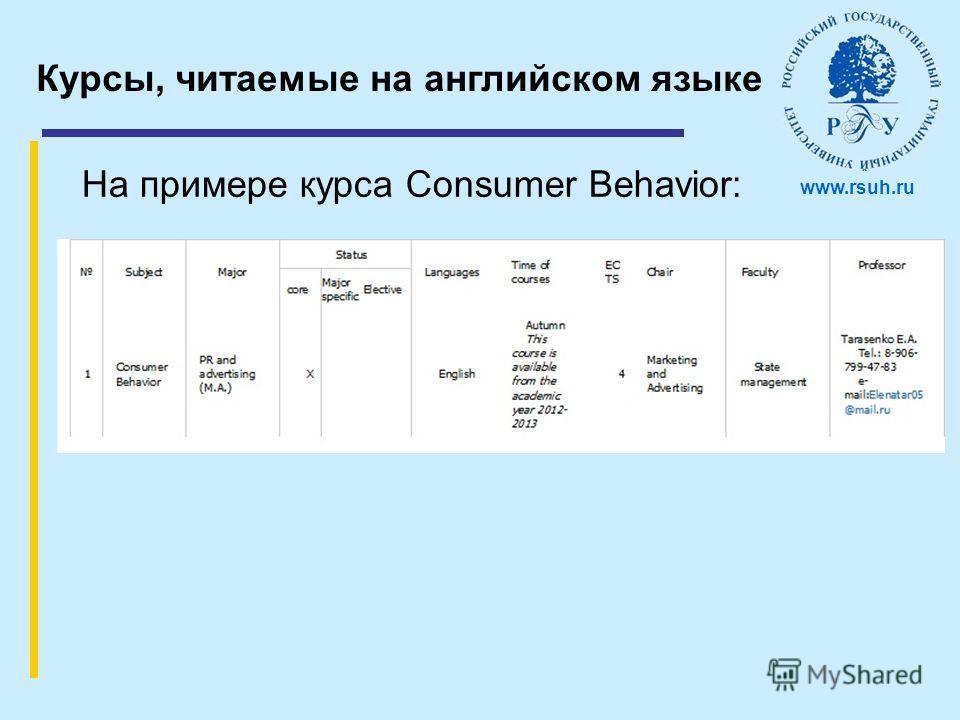 Курсы, читаемые на английском языке На примере курса Consumer Behavior: