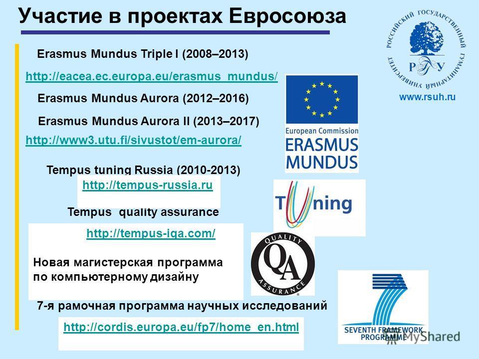 Участие в проектах Евросоюза Erasmus Mundus Triple I (2008–2013) Erasmus Mundus Aurora (2012–2016) Erasmus Mundus Aurora II (2013–2017) Tempus tuning Russia (2010-2013) 7-я рамочная программа научных исследований Tempus quality assurance http://tempu