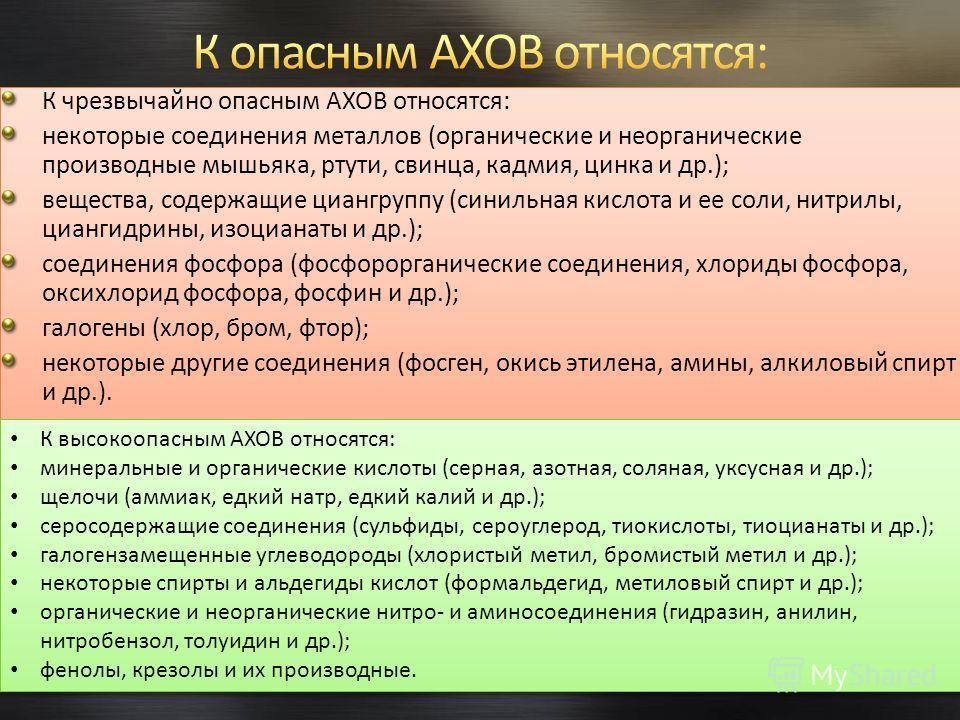 К чрезвычайно опасным АХОВ относятся: некоторые соединения металлов (органические и неорганические производные мышьяка, ртути, свинца, кадмия, цинка и др.); вещества, содержащие циангруппу (синильная кислота и ее соли, нитрилы, циангидрины, изоцианат